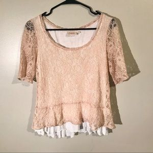 Anthropologie Deletta Blush Lace Blouse